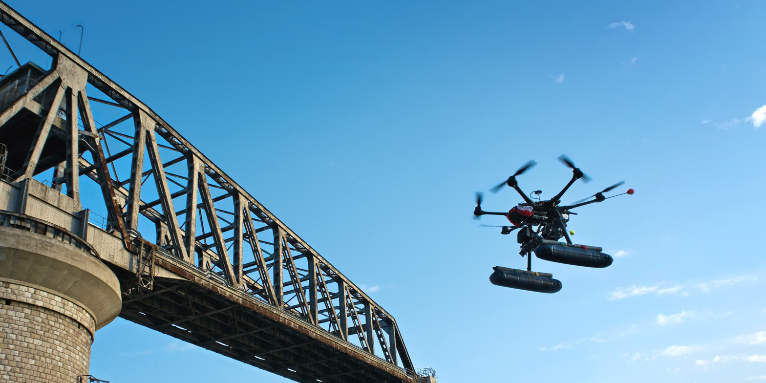 Drone near a bridge