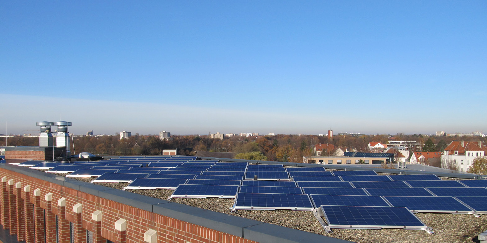 Solar panels on Hannover Re building